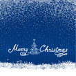 Merry Christmas background with snowfall, New Year Tree, Snow and Handwritten Greeting lettering