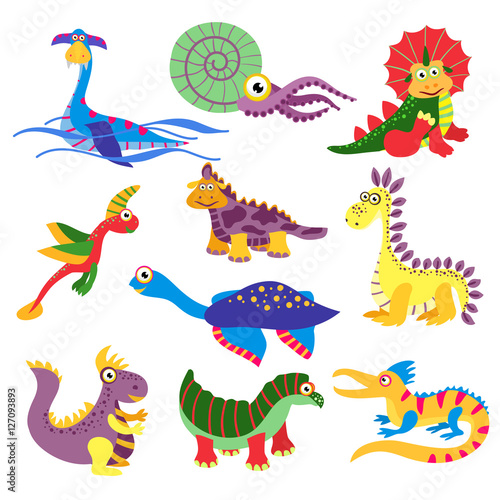 Photo Prehistoric cute dinosaurus vector illustration isolated on white background