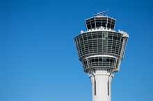 Modern Air Traffic Control Tower In International Passenger Airport Over Clear Blue Sky