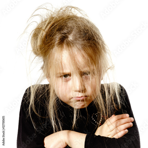 Fotografie, Obraz  Disheveled preschooler girl with stupid face