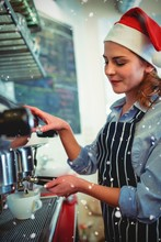 Composite Image Of Side View Of Waitress Wearing Santa Hat Using