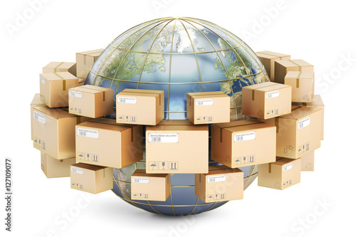 Fotografie, Obraz  Global shipping and delivery concept, parcels cardboard boxes ar
