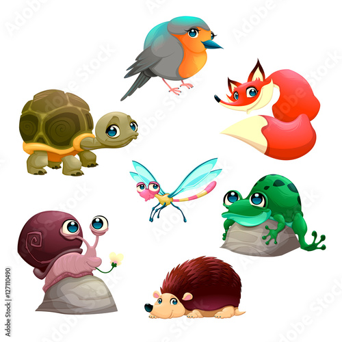 Staande foto Kinderkamer Group of cute isolated animals