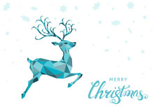 Christmas Greeting Card With Blue  Reindeer And  Snowflakes.