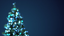 Blurred Christmas Tree Blue Lights