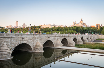 Madrid Skyline with the Segovia Bridge, Almudena Cathedral and the Royal Palace