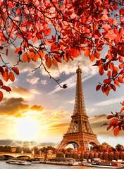 Fototapeta Wschód / zachód słońca Eiffel Tower with autumn leaves in Paris, France