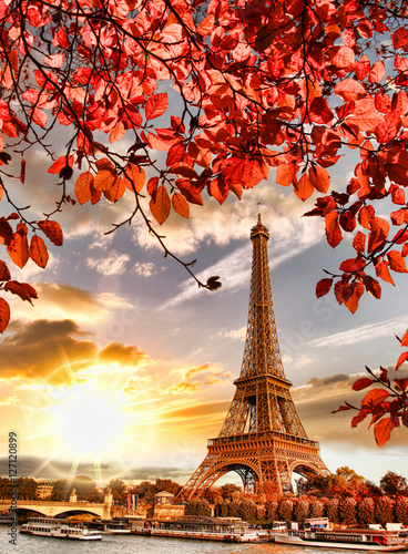 Recess Fitting Paris Eiffel Tower with autumn leaves in Paris, France