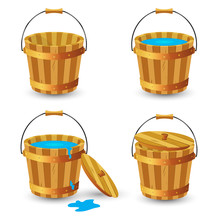 Set Of Wooden Buckets. Wooden ...