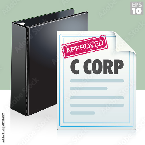 Approved Stamp On A C Corporation Legal Document With Black Three - Corporation legal documents