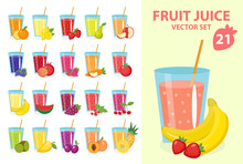 Fruit Juice In Glass, Vector Illustration Set. Fresh Juices Icon. Drinks, Isolated On A White Background. Template For Cooking, Restaurant Menu And Vegetarian Food.