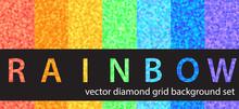 "Diamond Pattern Set ""Rainbow"". Vector Seamless Backgrounds"