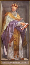 ROME, ITALY - MARCH 9, 2016: The Fresco Of The Doctor Of The Church St. John Chrysostom In Church Chiesa Di Santa Maria In Aquiro By Cesare Mariani From (1826 - 1901 In Neo-mannerist Style.