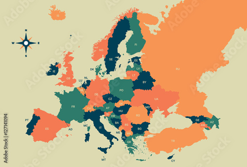 Europe Vector Map Canvas Print