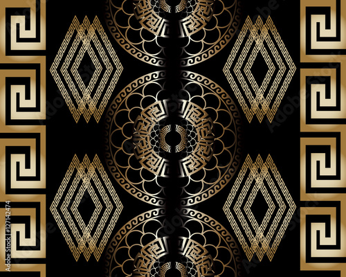 Modern Royal Black Abstract Geometric Vector Seamless Pattern Background Wallpaper Illustration With Gold 3d Vintage Greek