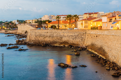 Medieval fortress at dawn Antibes, France Wallpaper Mural