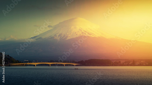 Fotobehang Zwavel geel Mt. Fuji, Japan at Lake Kawaguchi after sunset...
