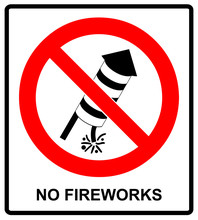 No Fireworks Vector Warning Icon