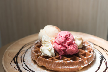 Strawberry and Vanilla icecream with honey toast