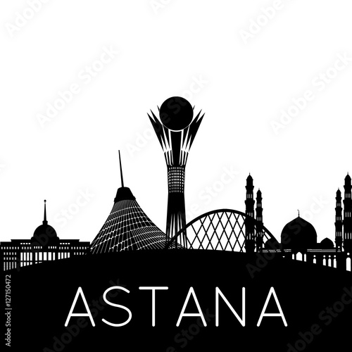 Photo Astana city silhouette, capital of Kazakhstan