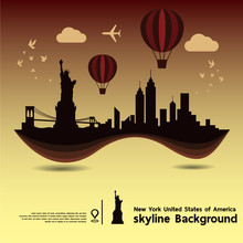 New York, United States Of America, Skyline Background And  Travel Destination, Vector Illustration