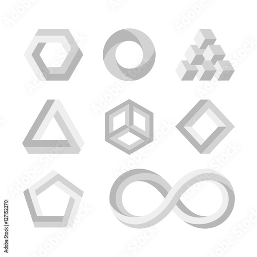 Paradox impossible shapes 3d twisted objects vector math symbols paradox impossible shapes 3d twisted objects vector math symbols publicscrutiny Choice Image