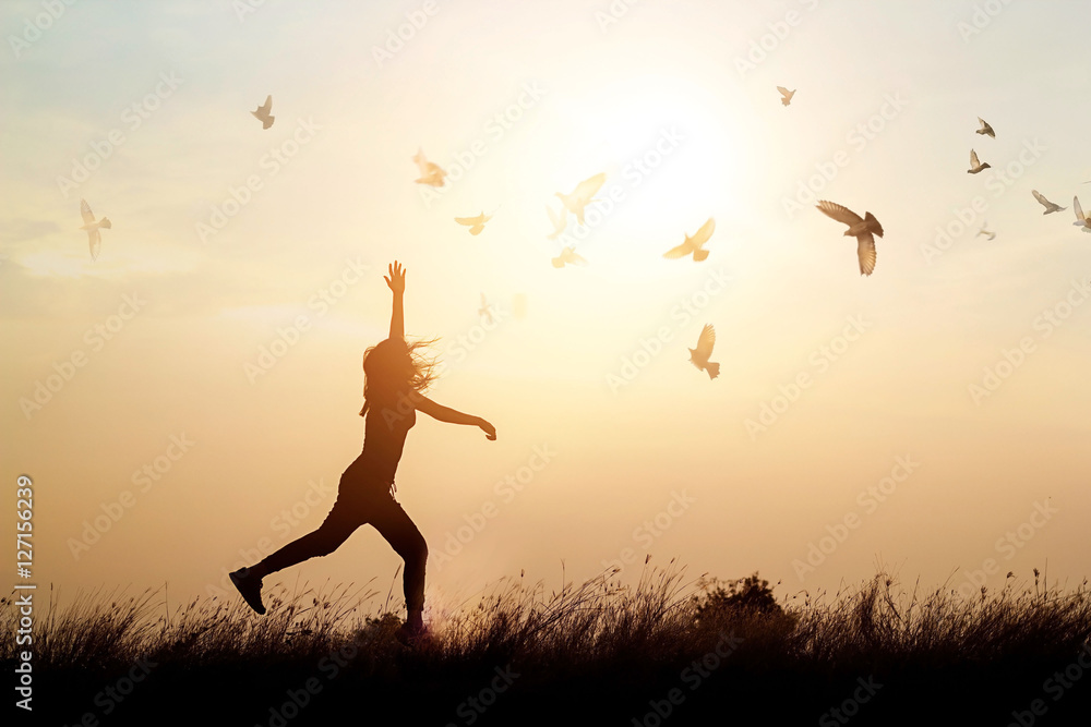 Fototapeta Woman and flying birds enjoying life in nature on sunset background