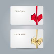 White Gift Card With Red, Golden Bow With Polka Dots And Ribbons. Vector Template For Design Invitation And Credit Or Discount Card. Isolated From A Background...