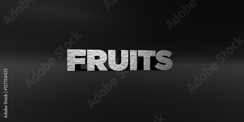 Fototapety, obrazy: FRUITS - hammered metal finish text on black studio - 3D rendered royalty free stock photo. This image can be used for an online website banner ad or a print postcard.