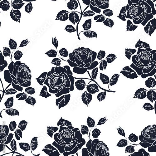 Foto op Canvas Bloemen zwart wit Floral seamless texture with roses.