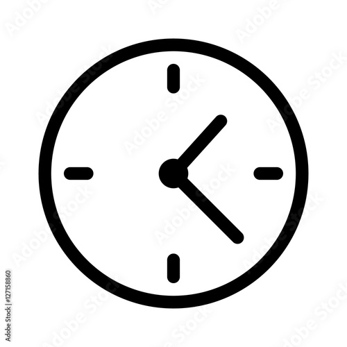 Fototapeta Simple clock face, clockface or watch face with hands line art icon for apps and websites obraz