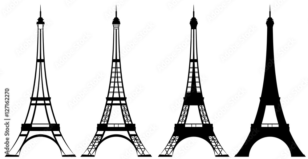 Fototapety, obrazy: eiffel tower black and white vector outline and silhouette set