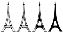 Eiffel Tower Black And White Vector Outline And Silhouette Set