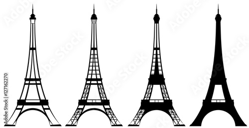 Fotografie, Obraz  eiffel tower black and white vector outline and silhouette set