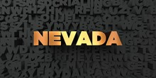 Nevada - Gold Text On Black Background - 3D Rendered Royalty Free Stock Picture. This Image Can Be Used For An Online Website Banner Ad Or A Print Postcard.