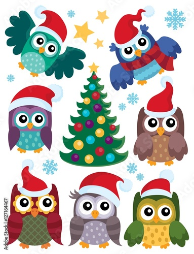 Poster Uilen cartoon Christmas owls thematic set 1