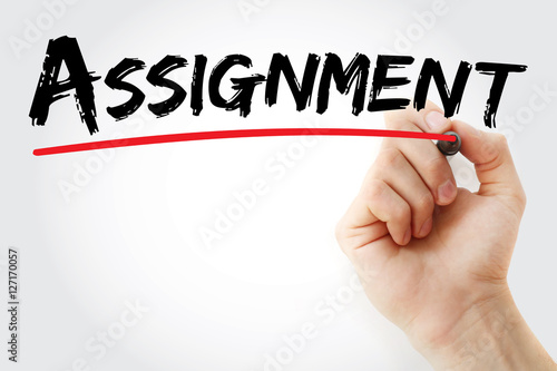 Hand writing Assignment with marker, concept background Canvas Print
