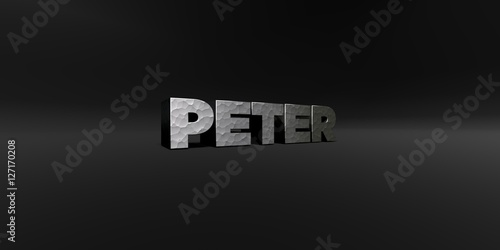 Fototapety, obrazy: PETER - hammered metal finish text on black studio - 3D rendered royalty free stock photo. This image can be used for an online website banner ad or a print postcard.