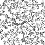 Seamless background with branches of beautiful hand-drawn silhouette gypsophila - 127170618