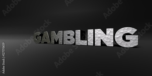 GAMBLING - hammered metal finish text on black studio - 3D rendered royalty free stock photo плакат