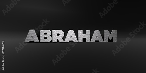 Foto  ABRAHAM - hammered metal finish text on black studio - 3D rendered royalty free stock photo