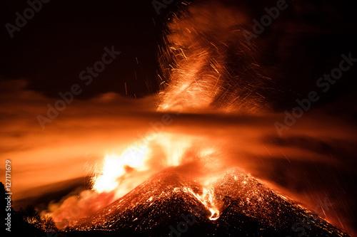 Autocollant pour porte Volcan Volcano Etna Eruption