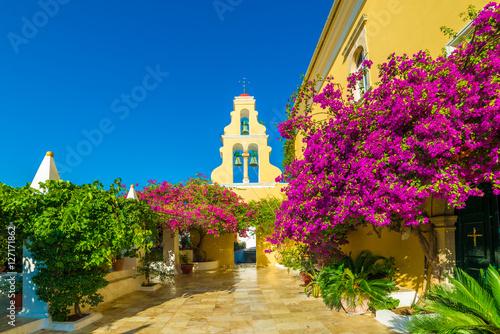Fotomural Theotokos Monastery, Paleokastritsa town, Corfu island, Greece