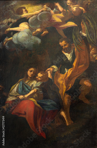 Fotografija BRESCIA, ITALY - MAY 23, 2016: The painting Rest on the Flight into Egypt in church Chiesa di San Giovanni Evangelista by unknown artist