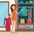 Woman near wardrobe for cloths with mirror.