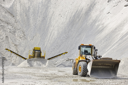 Quarry aggregate with heavy duty machinery. Construction industr Canvas Print