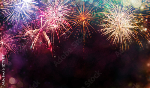 Canvas Print Abstract firework background with free space for text