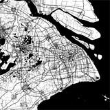 Shanghai, China, Monochrome Map Artprint - 127184800