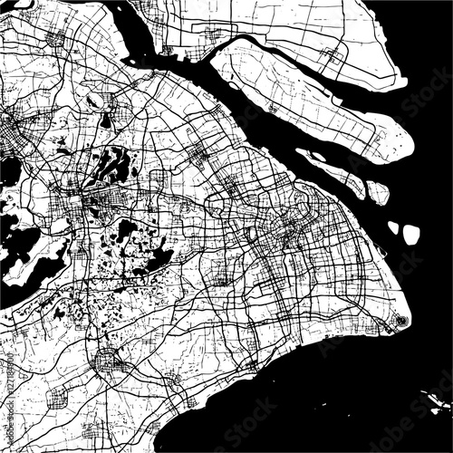 Fototapeta Shanghai, China, Monochrome Map Artprint