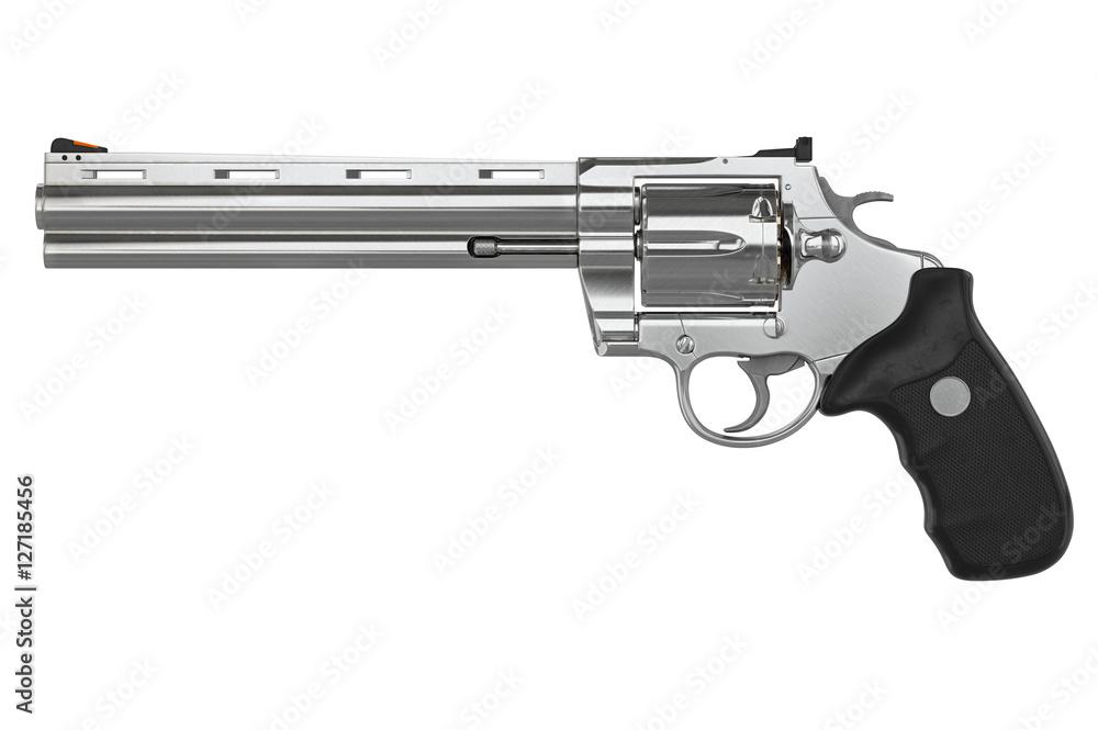 Photo & Art Print Revolver chrome pistol, side view  3D